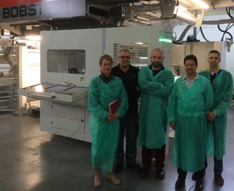 Bobst F&K 20Six machine equipped with Polywest clamping adapters at Marpol
