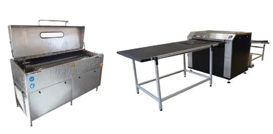 Hell Gravure Systems hat mit Flexo Wash ein Waschsystem für die Reinigung von elastomeren Druckformen nach der Laserdirektgravur entwickelt.