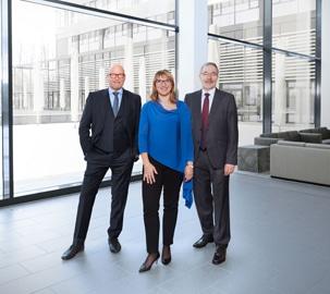Die neue Geschäftsführung von Goebel von links nach rechts: Harald Knechtel (Vertrieb und Marketing), Roberta Ghilardi (Administration und Finanzen) und Dr. Hans-Peter-Bauer (Technik)