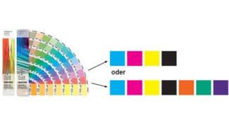 Je nach Druckprozess werden sämtliche Sonderfarben aus vier bis sieben Standardfarben gemischt