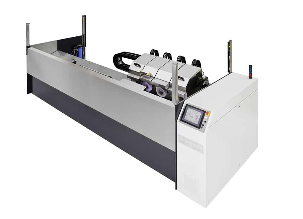 Die Schleif- und Poliermaschine der Baureihe Finishstar Slimline S 1410 ist geeignet für Hohlzylinder mit Ballenlängen bis 1400 mm und maximal 150 kg