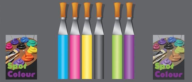 4C – geringe Druckproduktivität, gute Darstellung von Sonderfarben, aber ein mattes Druckbild mit einer 4C-Separation