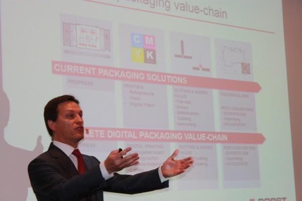 """Jean-Pascal Bobst, CEO Bobst: """"Bei dieser drupa liegt unser Fokus auf neuen Möglichkeiten für den qualitativ hochwertigen Druck mit verbesserter Leistung im Flexodruck und optimiertem Tiefdruckverfahren sowie mit Digital Flexo- und Digitaldruck-Lösungen."""""""