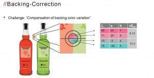 Gemeinsam mit der Bergischen Universität Wuppertal wurde für die Inline Spektralfarbmessung ein Algorithmus für von der Norm abweichende Messhintergründe entwickelt, wie sie zum Beispiel bei transparenten und nicht ganz opaken Etikettenmaterialien erforderlich sein können.