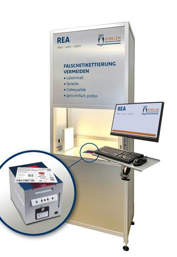 Der REA LabelTower ist das jüngste Ergebnis einer Partnerschaft mit dem Unternehmen Strelen Control Systems GmbH. Dank einer OCR-Schrifterkennung erkennt er Inhalte und Qualität der Etikettierung (Quelle: REA Elektronik)